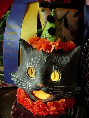 RARE Limited Edition Bethany Lowe HALLOWEEN Black Cat Paper Mache Lantern Light