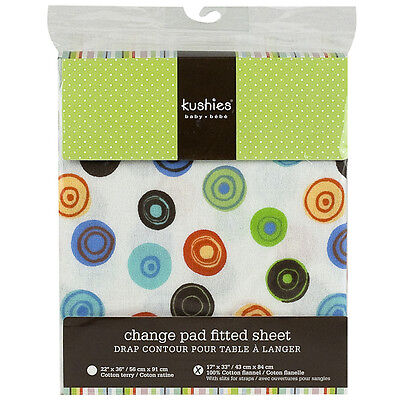 Kushies Change Pad Fitted Sheet with Slits for Safety Straps