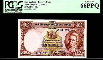"NEW ZEALAND P158 FINEST KN 10 SHILLINGS PCGS 66PPQ ""Capt. COOK"" KIWI VERY RARE"