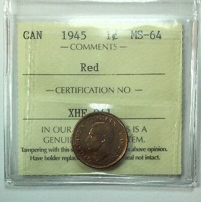 1945 Canadian One Cent Coin ICCS Graded MS-64 Red