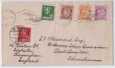 Stamps Norway various cover sent Christiania local re-directed name change Oslo