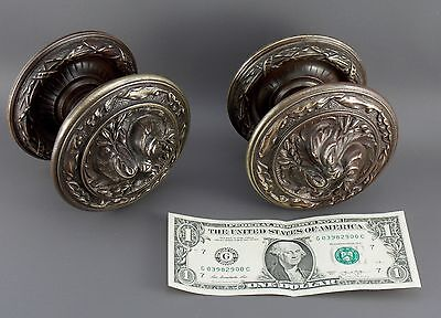 Antique Large Solid Bronze Pair French Door Knobs Pull Handles. Empire
