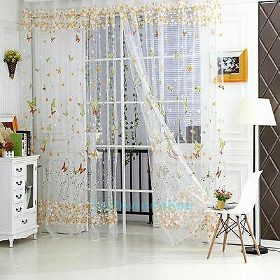 Butterfly Floral Tulle Voile Fairy Door Window Curtain Drape Panel Sheer Scarf