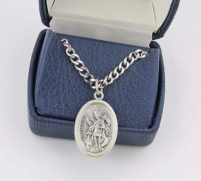 """Saint St FLORIAN Medal Pendant Necklace 24"""" Chain Firefighter ITALY Holy Medal"""