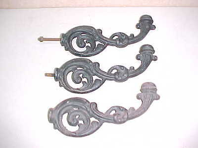 Lot Of 3 Matching Vintage Old Victorian Style Fancy Heavy Iron Hooks