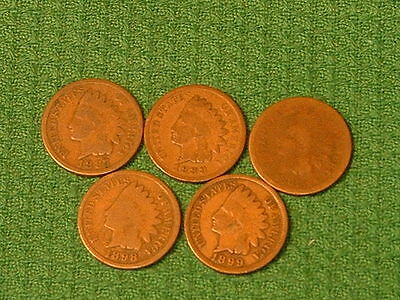 1881, 1887, 1888, 1898 and 1899 Indian Cents
