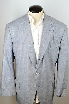 Orvis Silk Blend Blue White Herringbone Sport Coat Jacket Sz 48L