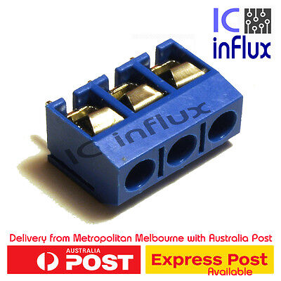 5Pcs 3 Pin 5.08mm Pitch Terminal Block Connector PCB 2.54mm Joinable Blue