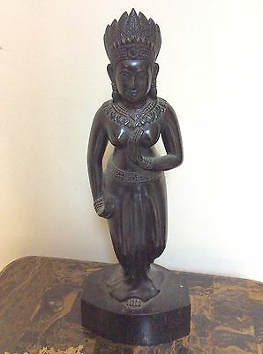 Antique Wood Carved Statue Hindu Goddess