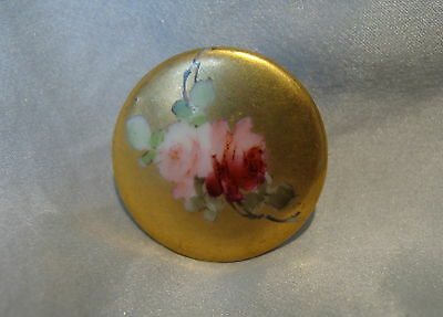 ANTIQUE VICTORIAN HAND PAINTED PORCELAIN/CHINA/CERAMIC STUD BUTTON~RoSeS~LARGE~