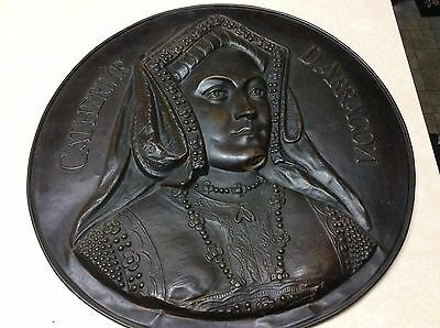 Pair of Metal Releif wall plaques Catherine of Aragon and King Henry IV - Rare