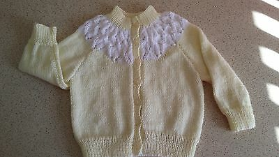 BABY GIRL'S CARDIGAN,  HAND KNITTED with LOVE.