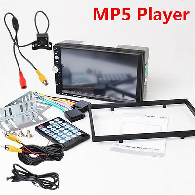 7023D 2DIN 7'' Bluetooth HD Stereo Audio MP5 Card Reader Fast Charge Car Radio