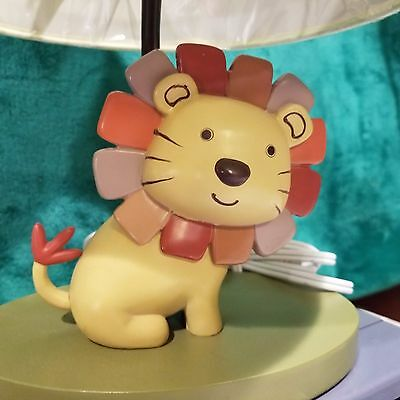 Cocalo Nali Jungle Nursery Lamp Yellow Lion Green Brown Red Stripes Shade Nib!