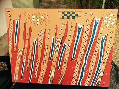 Aboriginal Stretched 80cm By 60cm Artist T Wade