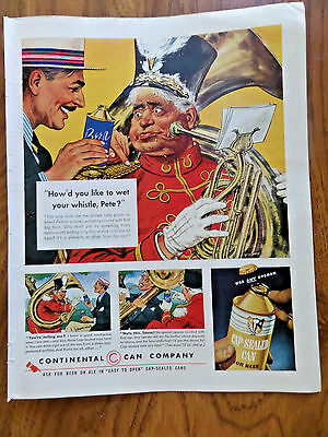 1941 Continental Can Company Ad Cap-Sealed Can for Beer Marching Band Sousa