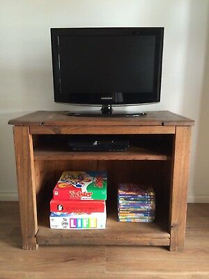 Rustic Industrial Solid Timber Wood French Country TV Entertainment Stand Unit