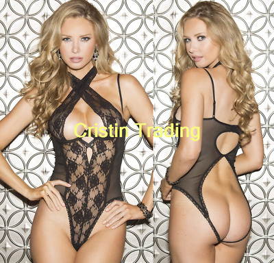 Womens Sexy Lingerie Open Bust Cupless Crotchless Leotard Bodysuit Corset Teddy