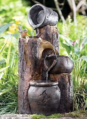 Cascading Log Buckets Bird Water Fountain Feature Solar pump Garden Outdoor