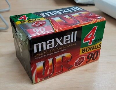 Audio Cassette Tapes New Maxell UR 90 x 4 Sealed FREE SHIPPING