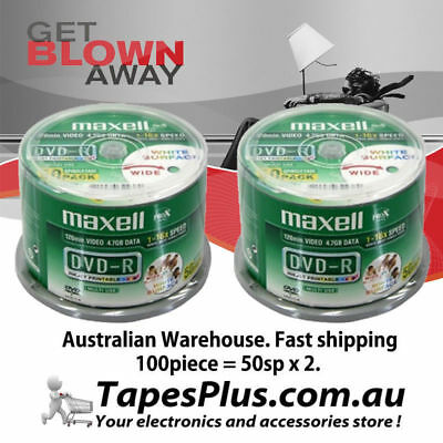 100pk DVD-R 4.7GB hub printable Blank Recordable Discs 2 x 50 Pack Spindle