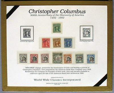 s610) Chile  Columbus 500th Anniversary 1992  ** Specimen Set in special folder