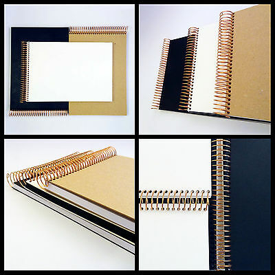 A4 and A5 Blank Scrapbook with Black, White or Kraft Brown Covers