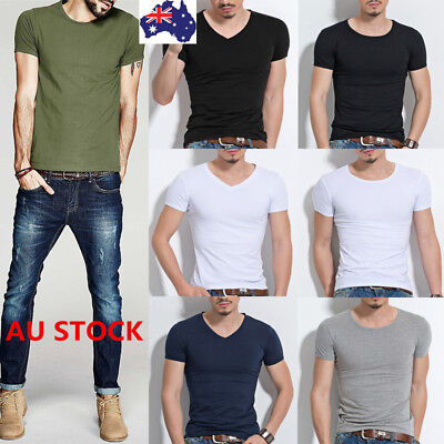 Men's V Neck Casual Cotton T-Shirt Classic Slim Fit Crew Neck Short Sleeve Tops