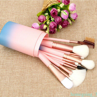 Pro 12 pcs Makeup Brushes Set Cosmetic Powder Eyeshadow Brush Gradient Pink