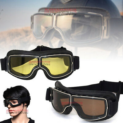 Aviator Pilot Leather Motorcycle Cruiser Helmet Sport Goggles Eyewear For Harley