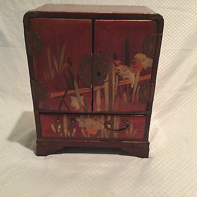 Antique Japanese Mahjong Set in Red Gilt Lacquer Chest
