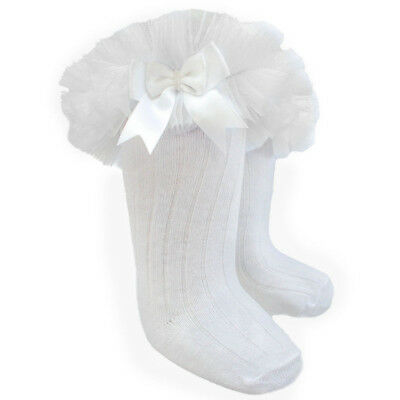 Baby Girls White Frilly Knee Socks Tutu style With Satin Bows by Soft Touch