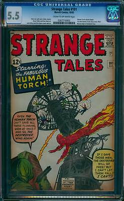 Strange Tales # 101  Human Torch series Begins !  CGC 5.5  scarce book!