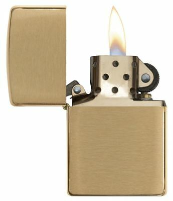 Genuine Zippo Windproof Refillable Petrol Lighter without Logo - Brushed Brass