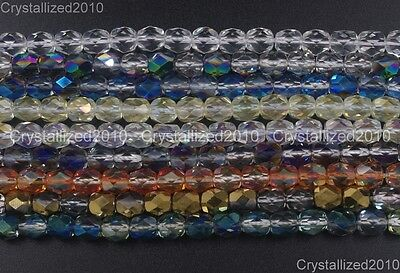 """Top Quality Czech Crystal Faceted Drum Spacer Beads 3mm 4mm 5mm 6mm 8mm 15.5"""""""