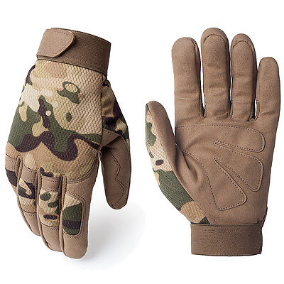 Multicam Camo Tactical Airsoft Motorcycle Paintball Shooting Full Finger Gloves