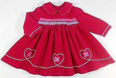 Little Darlings baby dress pink corded 3-6 month