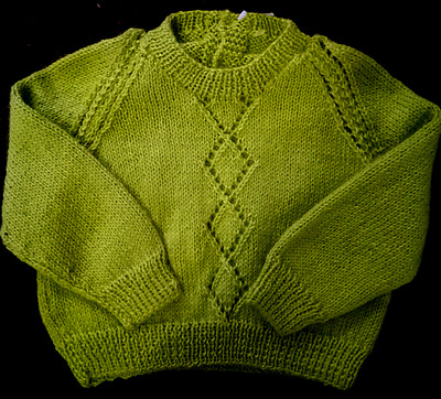 Hand knitted baby clothes, very nice green jumper.