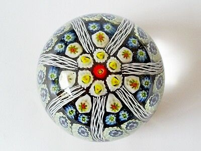 "Lovely Vintage Scottish Strathearn Millefiori Art Glass 7 Spoke 3"" Paperweight"