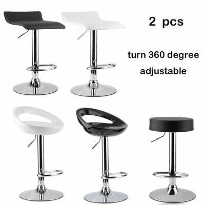 Set of 2 Bar Stools Swivel Kitchen  Pub Stool Breakfast Bar Chair Metal Base UK