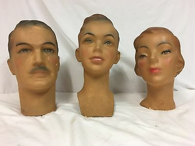 Art Deco Painted Plaster Mannequin Shop Display Heads - Mother Father & Son !