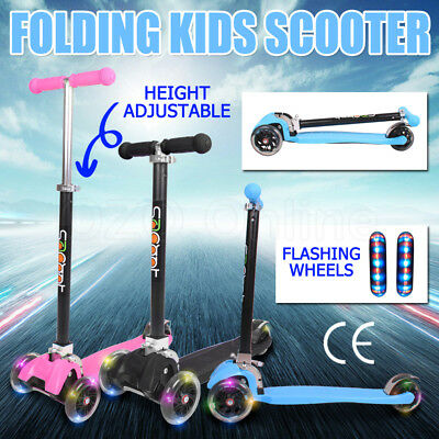 Folding Kids Scooter Scoot 3 Flashing Wheels Kick Push Kickboard T-Bar Brake