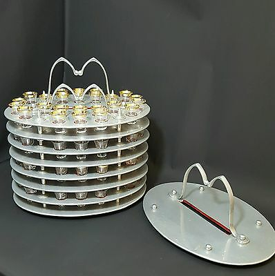 Antique Arts and Crafts Communion Trays x4 with 96 Glasses and Cover - Shots