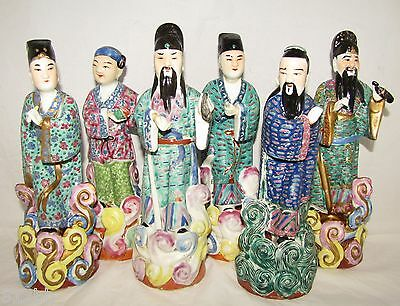 Lot of 6 Vintage Chinese Immortal Figurines 10""