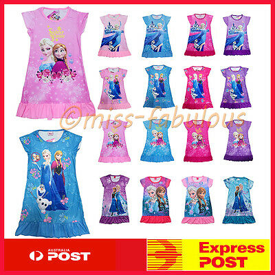 Girl Pyjamas Disney Frozen Princess Anna Elsa Nightie PJs Pajamas Dress
