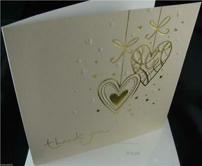 54 Embossed Gold Hearts Design Cream Wedding Thank You Cards Envelopes Included