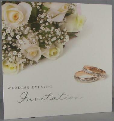 54 Rose Flowers And Ring Design White Wedding Evening Invitations With Envelopes