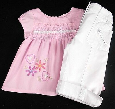 Baby girl top trouser capri outfit set pink white 6-9 month
