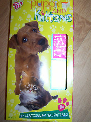 Box of 27 Pets Puppy Dogs Kittens Kitty Cats Lenticular Valentines Day Cards