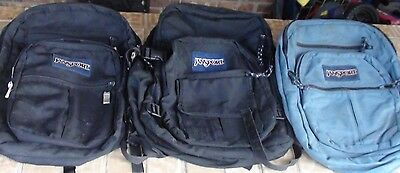 Lot of 3 Jansport Authentic Backpacks Bags Black, Light Blue BACK TO SCHOOL